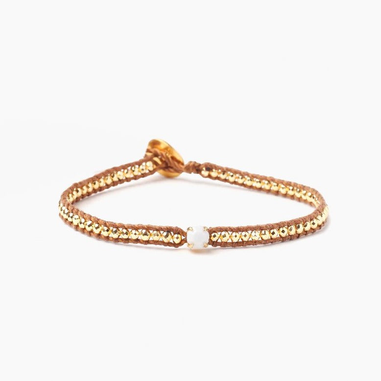 Chan Luu Gold Mix Bracelet with White Stone