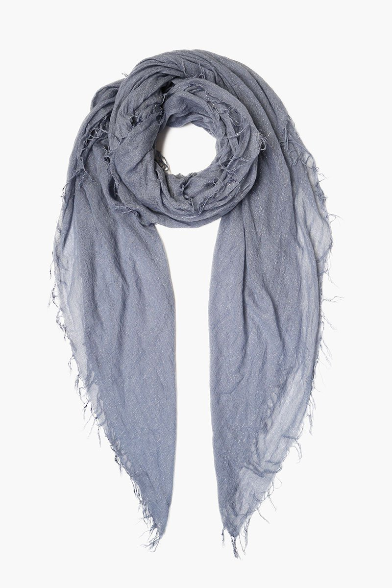 Chan Luu Cloud Grey Metallic Cashmere & Silk Scarf