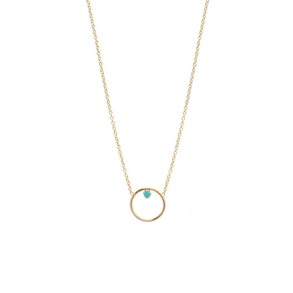 Zoe Chicco 14k Circle Prong Turquoise Necklace
