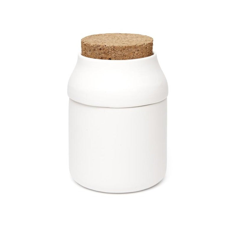 Large White Ceramic Herb Grinder + Jar