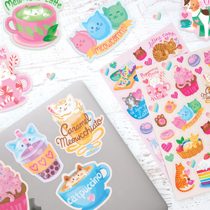 Cat Cafe Scented Sticker