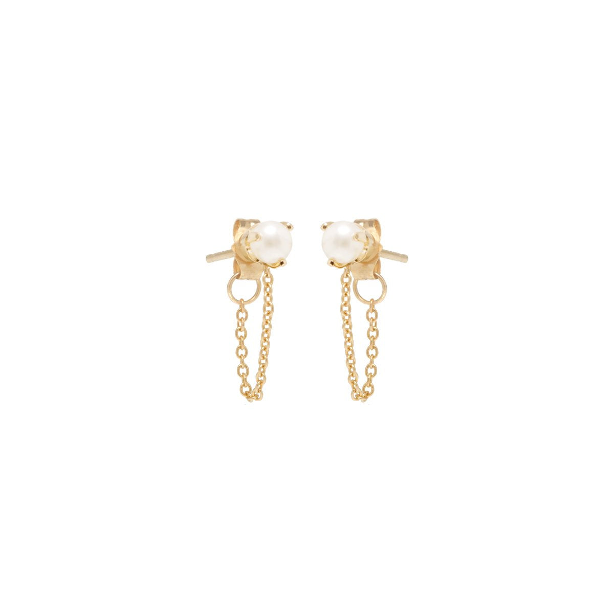 Zoe Chicco 14k Pearl Chain Stud Earrings