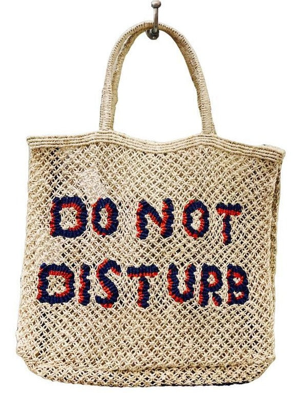 """Do Not Disturb"" Natural Jute Bag with Scarlet + Navy"