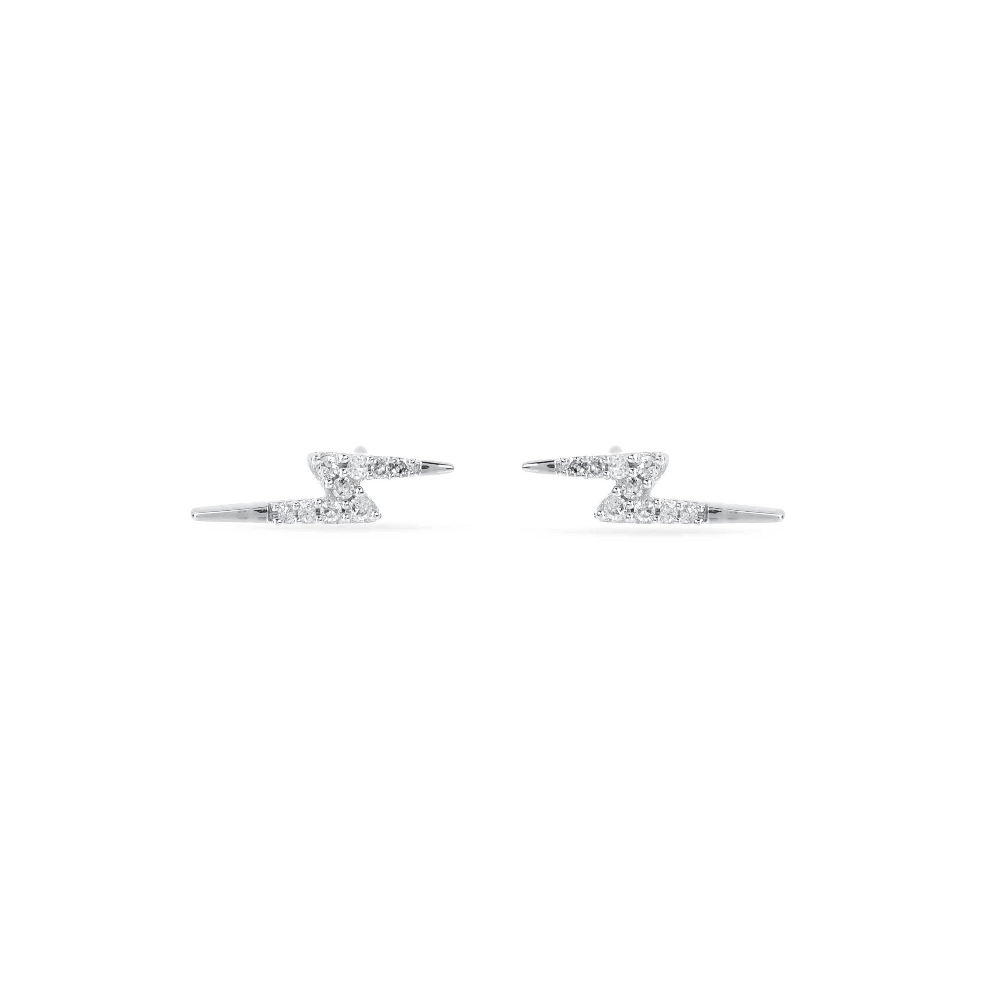 Adina Reyter Tiny Silver Pavé Lightning Bolt Posts