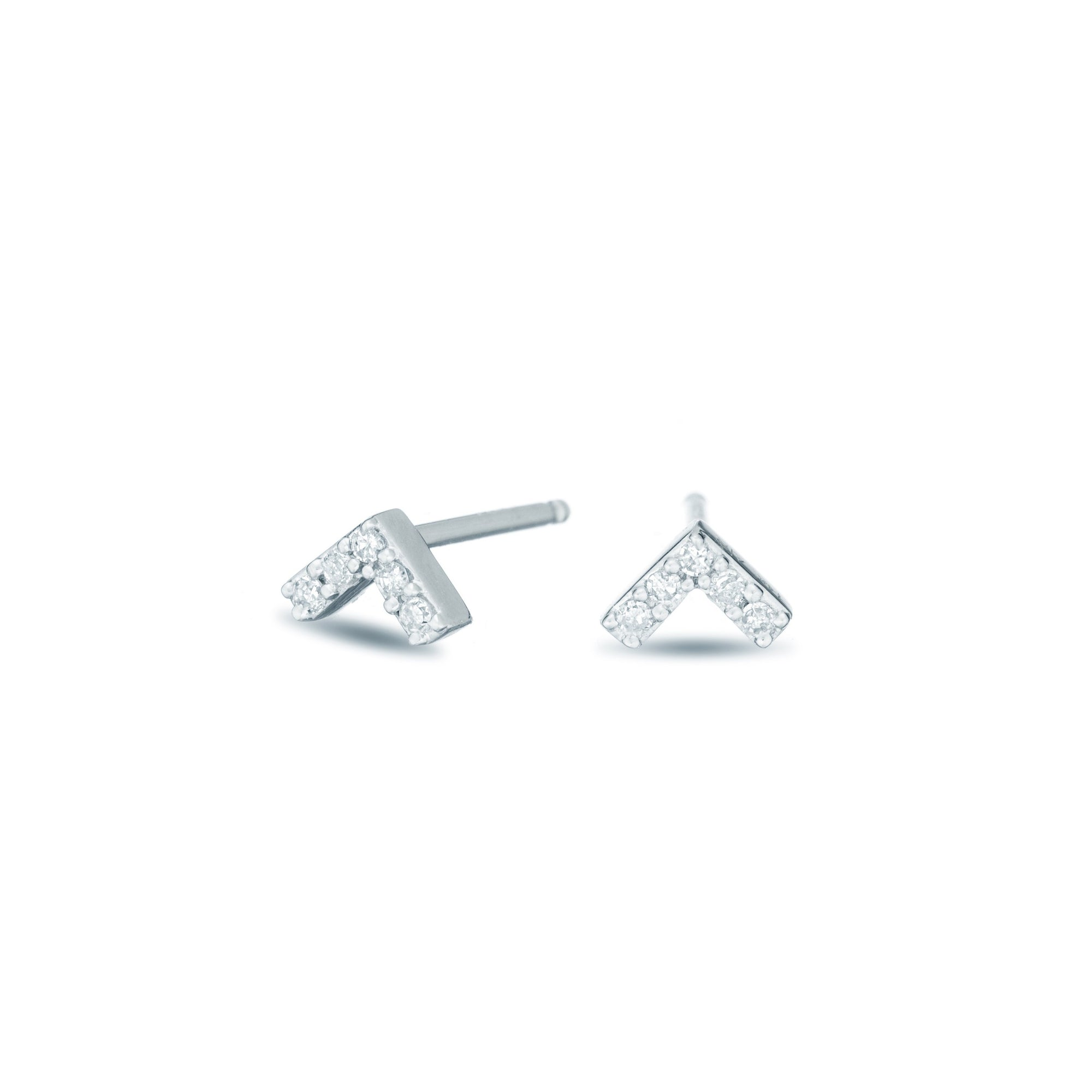 Adina Reyter Sterling Silver Super Tiny Pavé V Posts