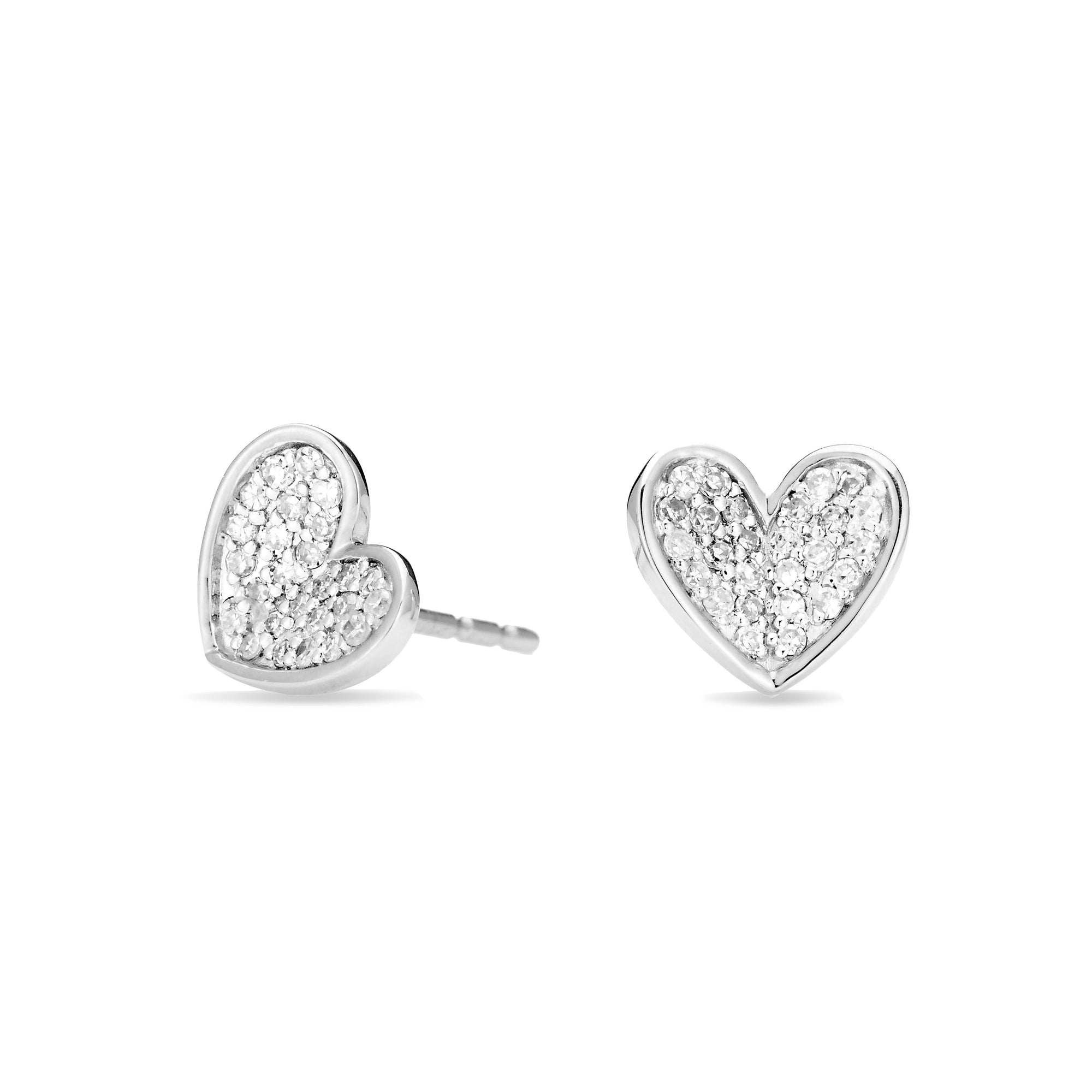 Adina Reyter Tiny Pavé Folded Heart Posts
