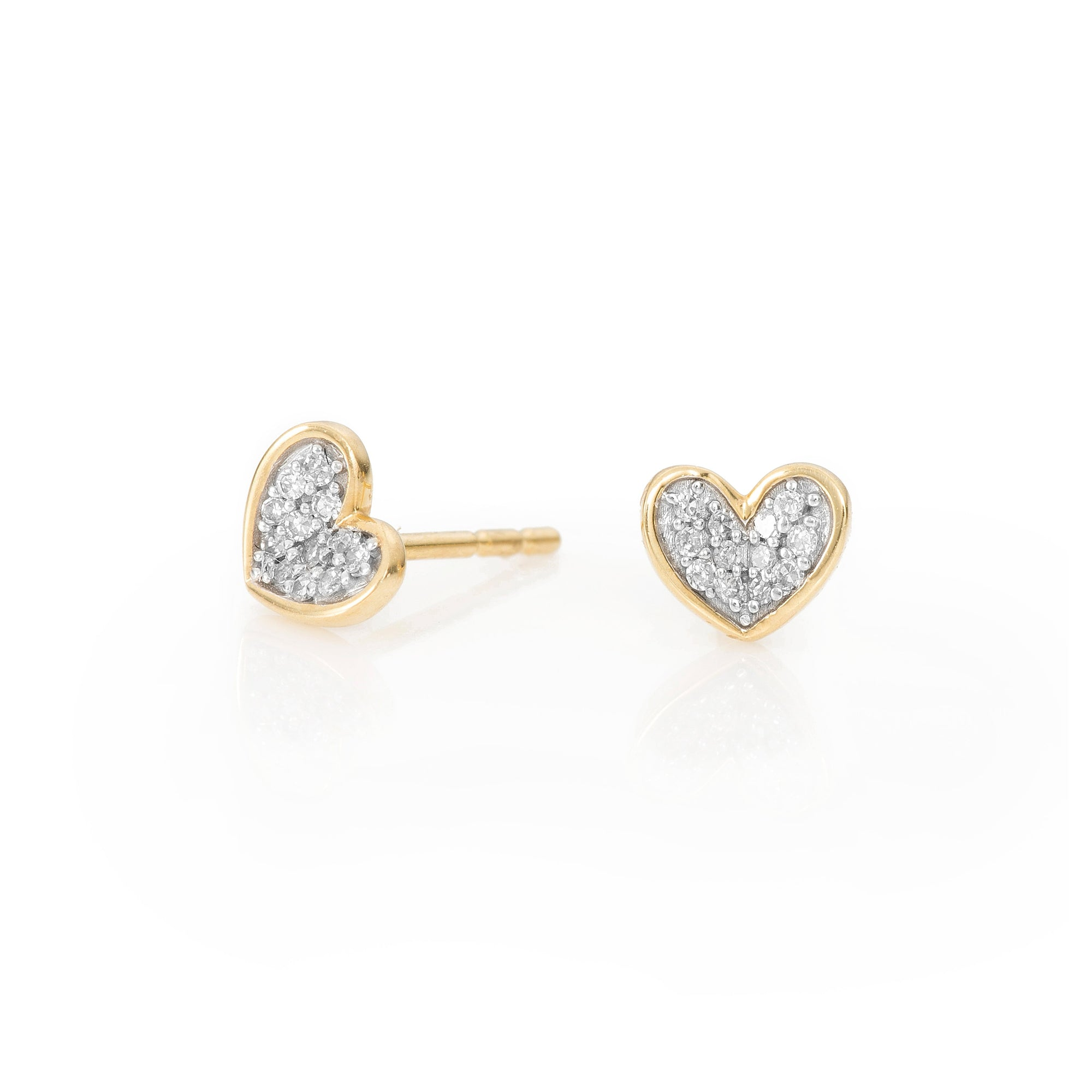 Adina Reyter Super Tiny 14k Gold Pave Folded Heart Posts
