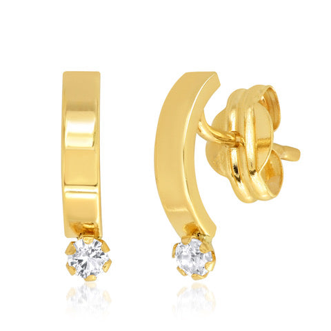 Tai 14k Gold Curved Thick Bar Earrings With White Topaz