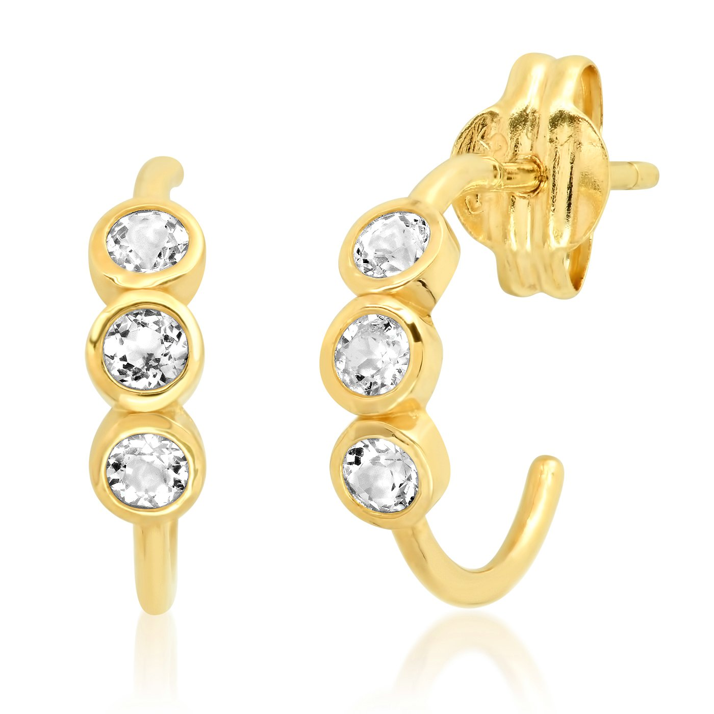 Tai 14k Gold Hoop Earrings With White Topaz Accents