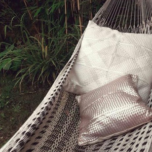 Claramonte Woven Leather Pillow - Silver