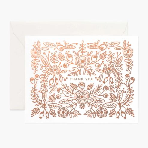 Boxed Set of 8 Cards - Rose Gold Thank You