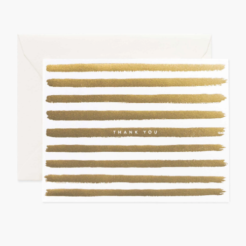 Boxed Set of 8 Cards - Gold Stripes Thank You
