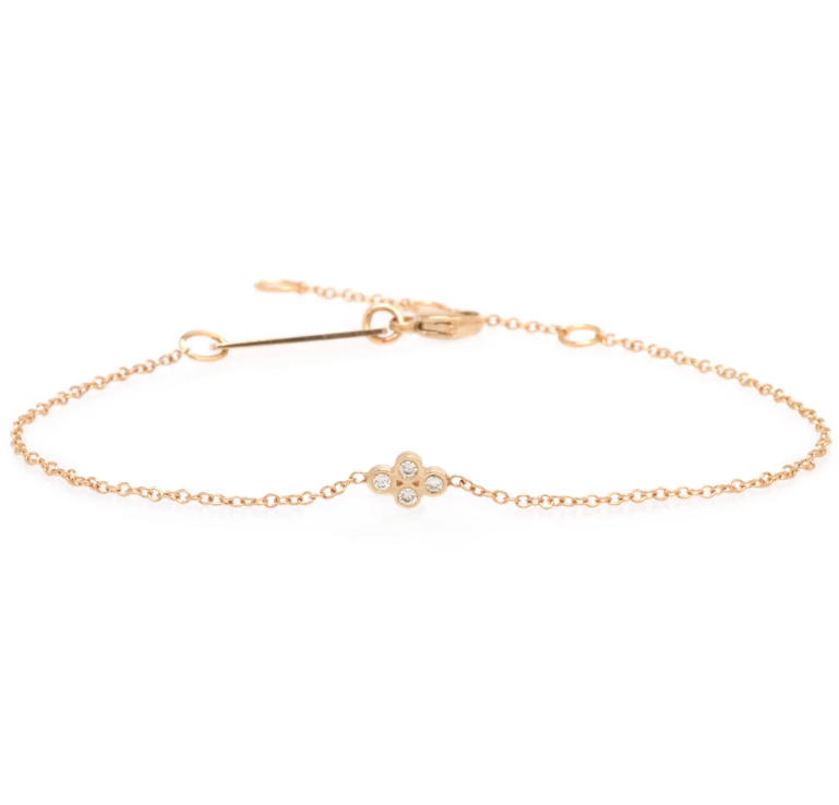 Zoe Chicco 14K Gold Tiny Quad Diamond Bracelet