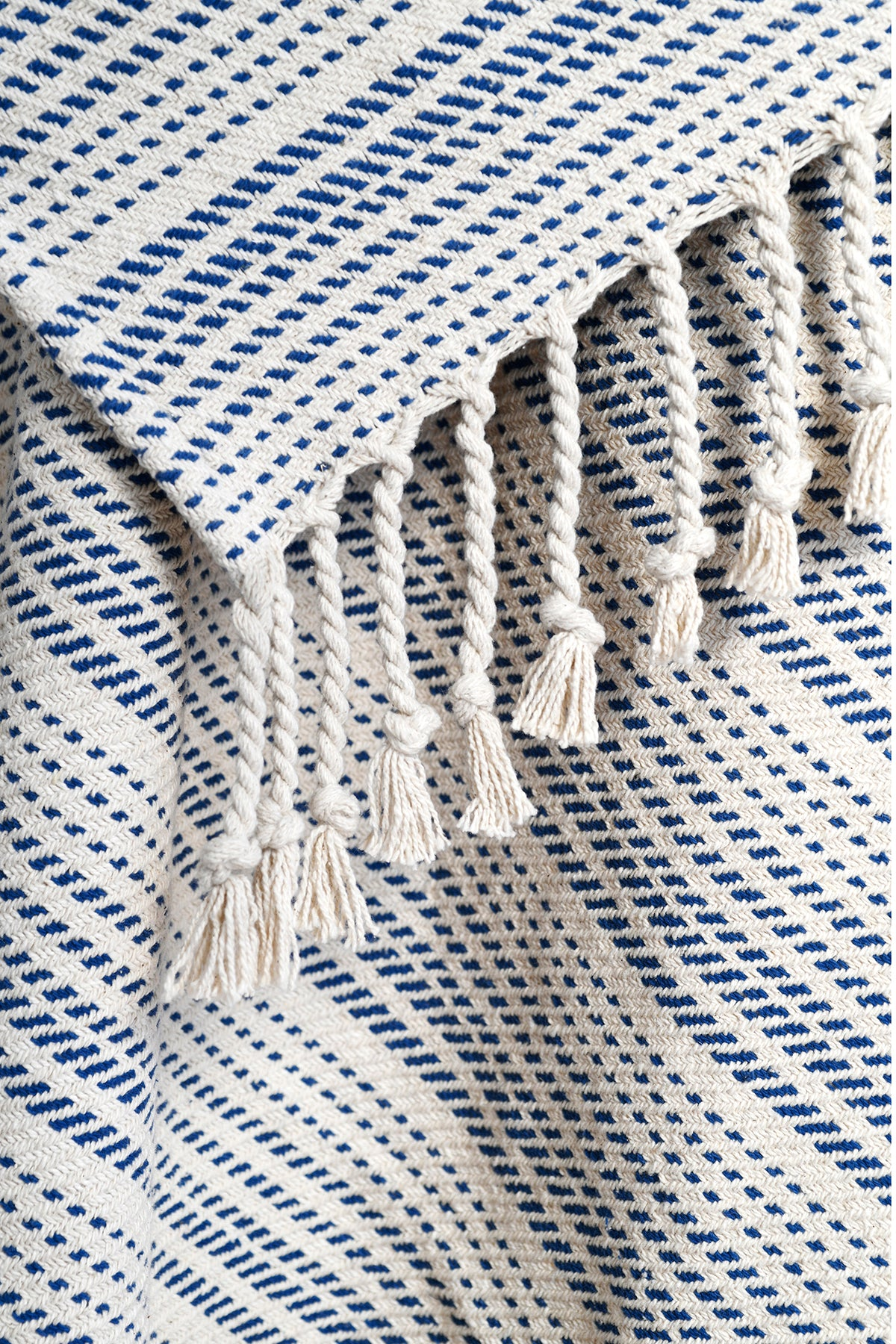 Stratford - Blue & Natural Cotton Throw Blanket