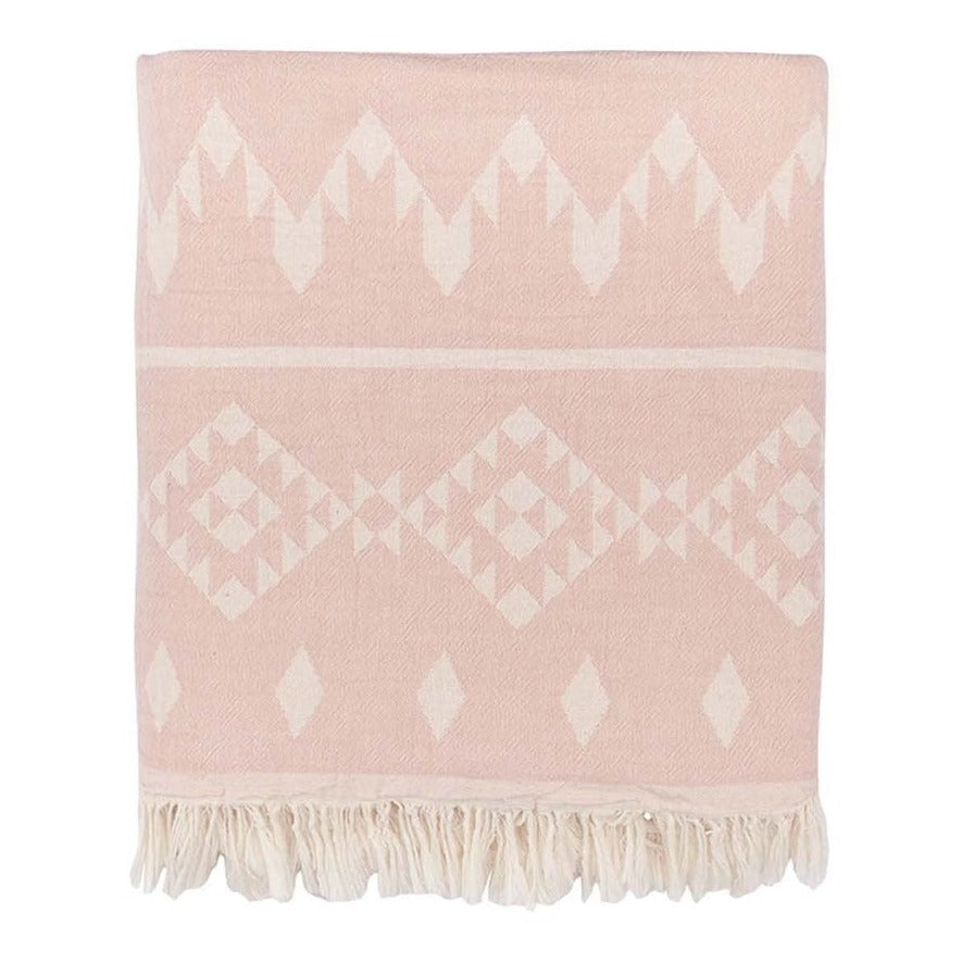 Kilim Fleece Lined Throw - Light Pink
