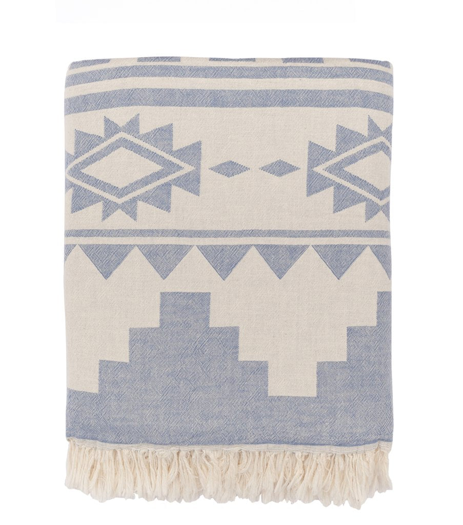 Phoenix Fleece Lined Throw - Navy