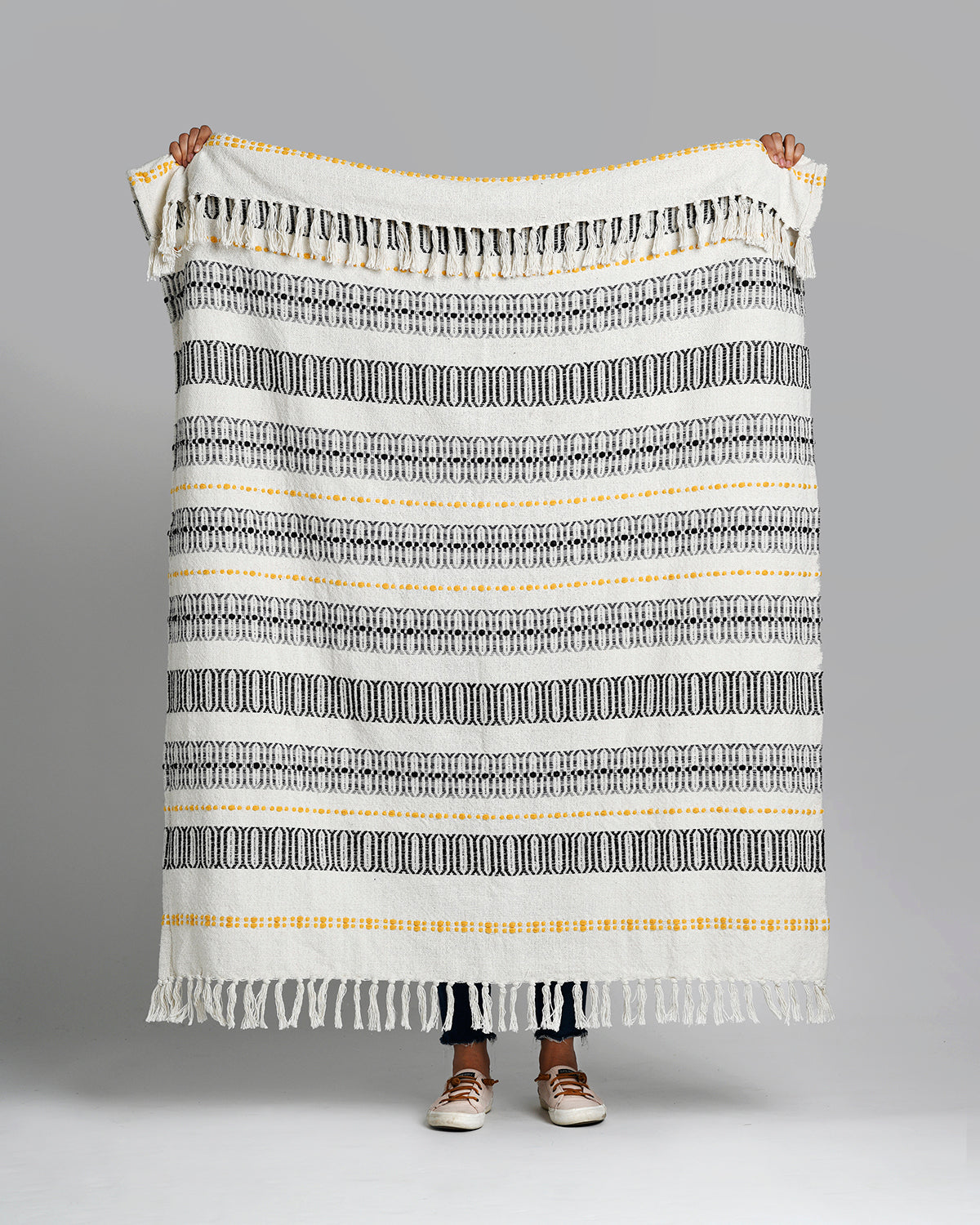 Union - Gray & Yellow Cotton Throw Blanket
