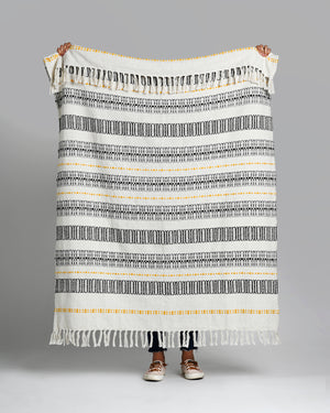 "Union - Gray & Yellow Cotton Throw Blanket 50"" x 60"""