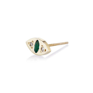 Scosha Single Cat Eye Stud 10k Emerald