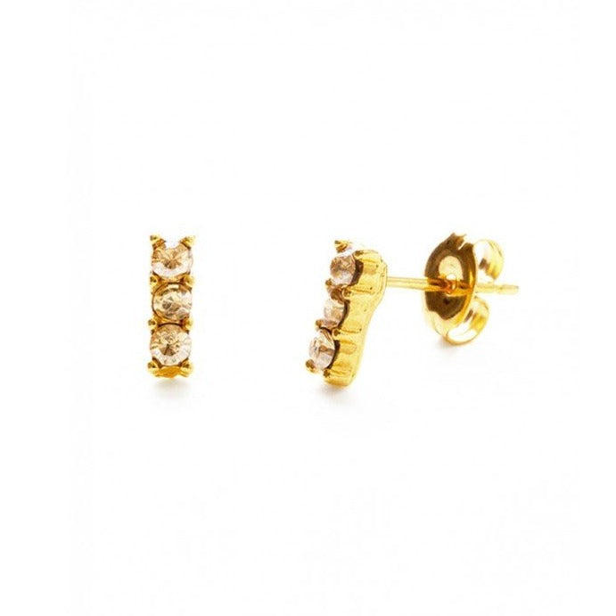 Amano Triple Crystal Stud Earrings