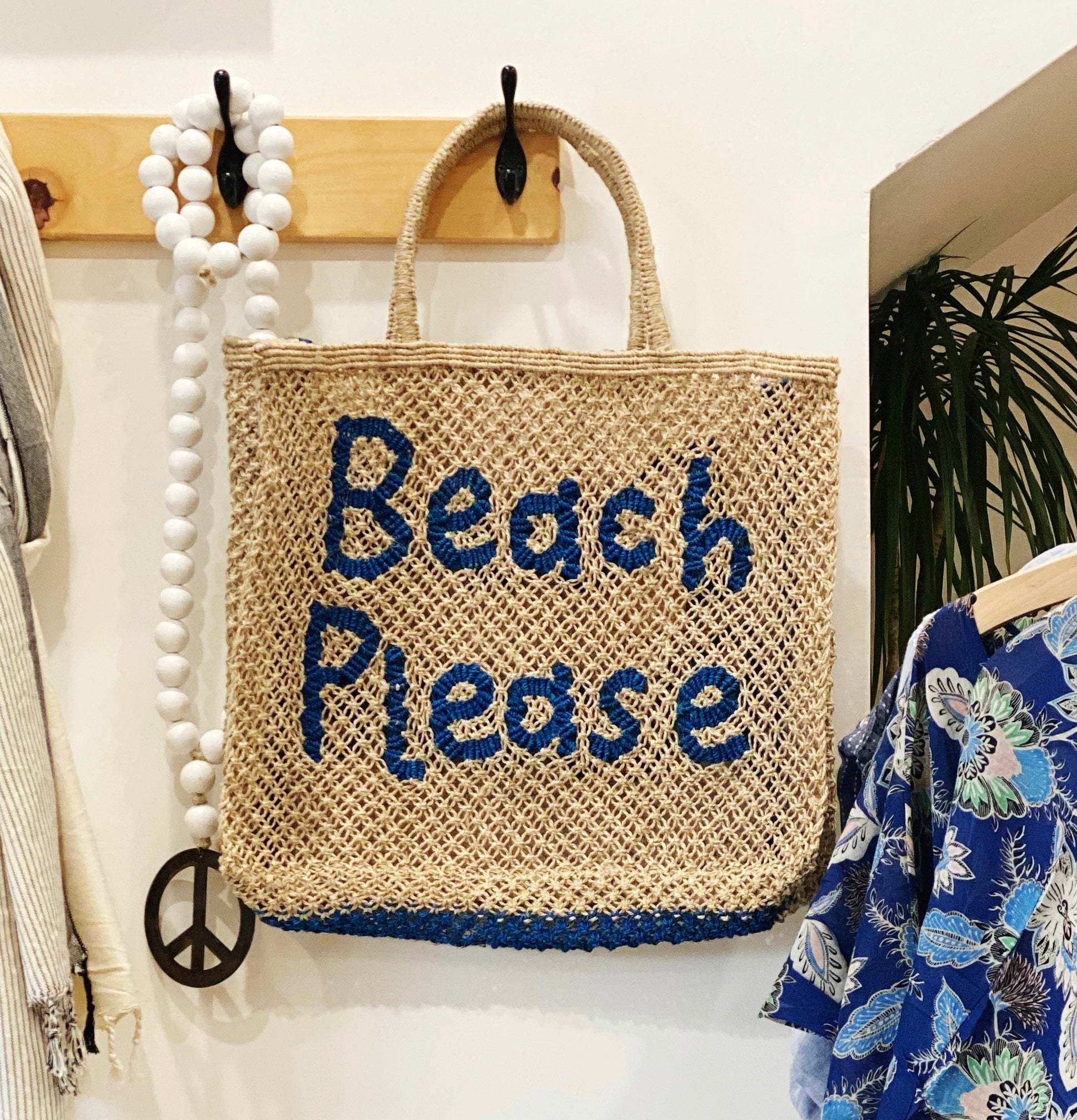 """Beach Please"" Natural Jute Bag w/Cobalt"