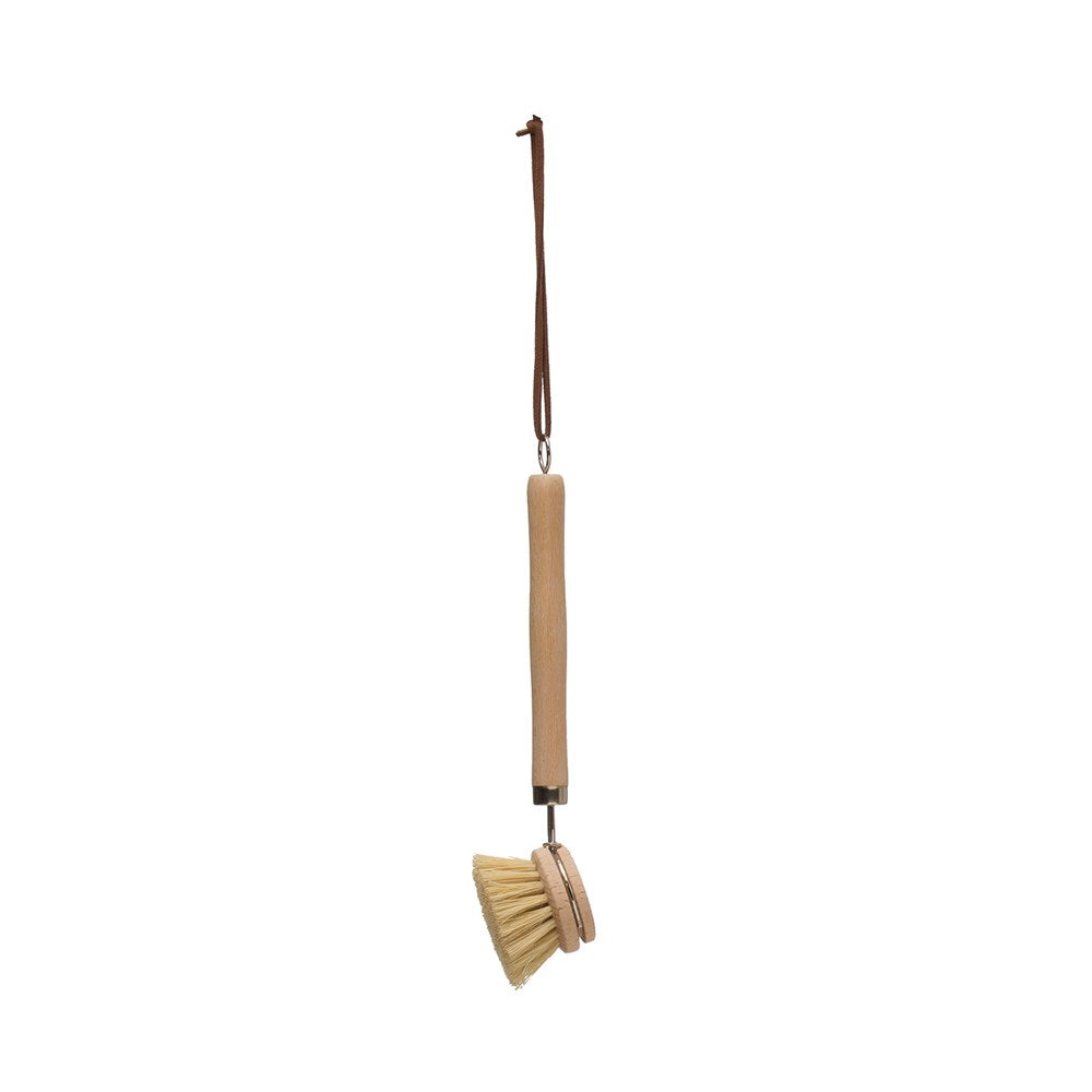 Beech Wood Dish Brush w/Leather Strap