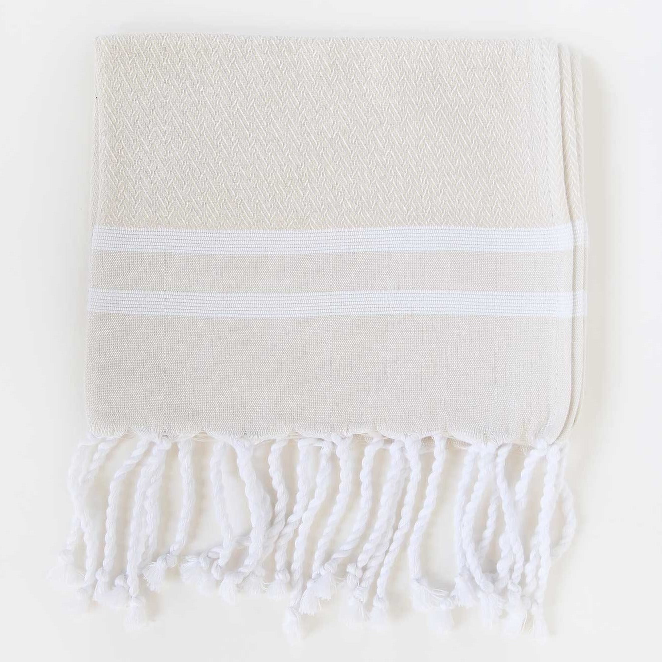 Guest Towel Herringbone 2-Stripes Beige / White
