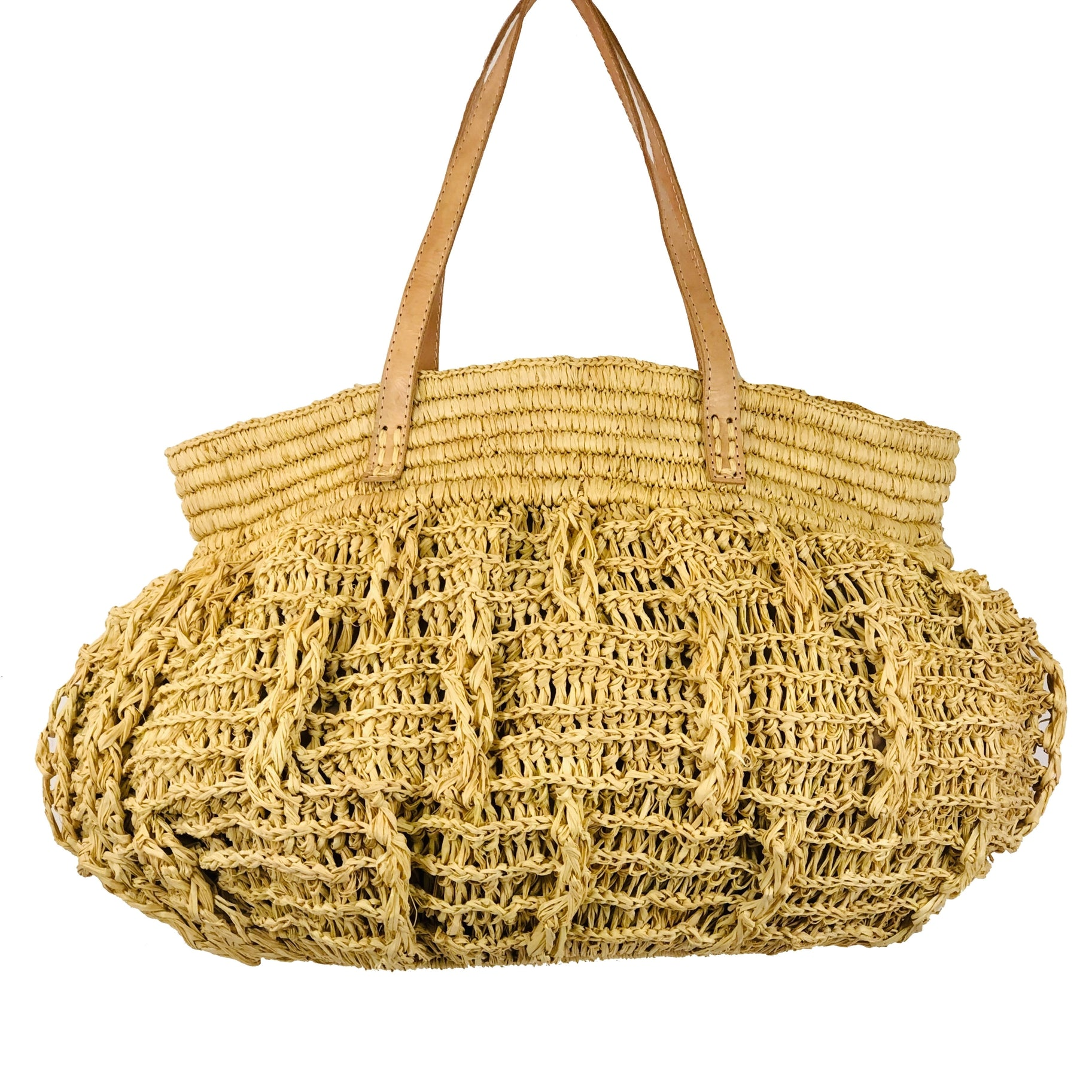 Bella Crochet Straw Handbag - Natural