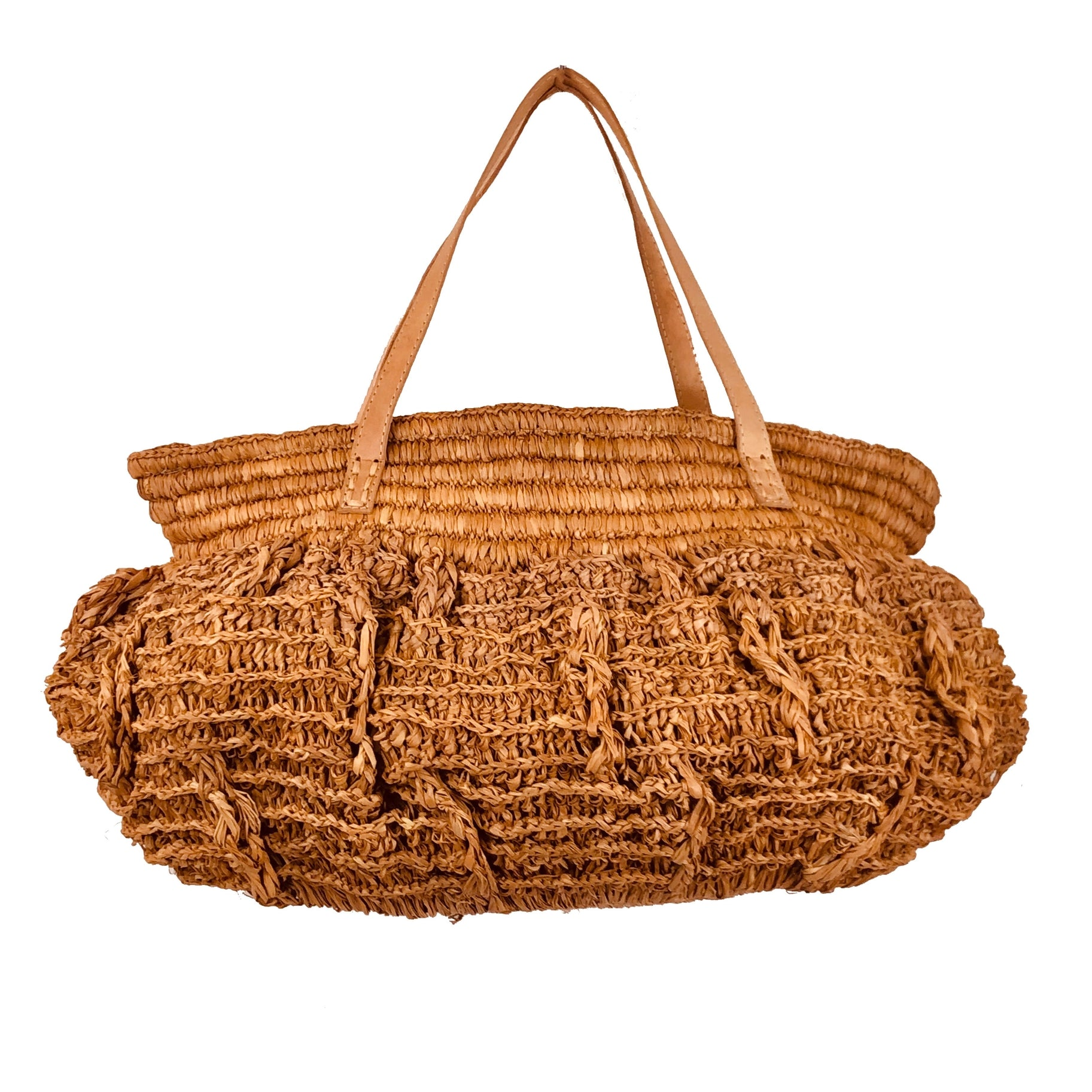 Bella Crochet Straw Handbag - Tobacco