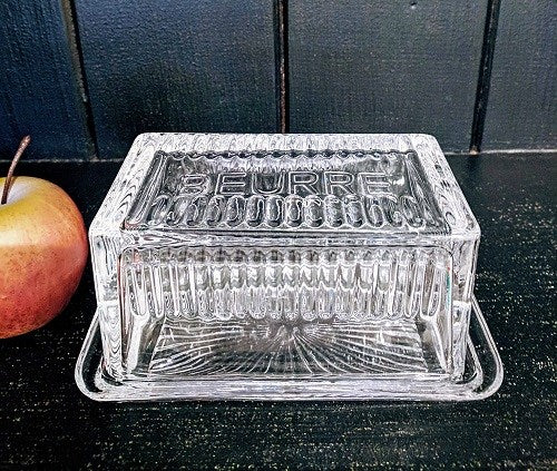 "Glass Butter Dish ""Buerre"""