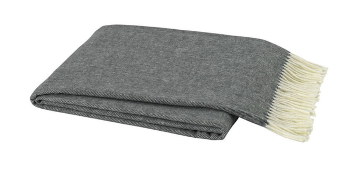 Charcoal Italian Herringbone Throw