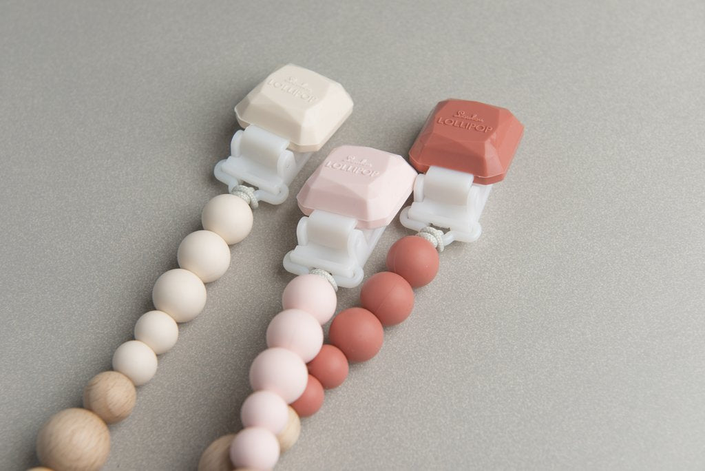 Pink Quartz Colour Pop Silicone & Wood Pacifier Clip