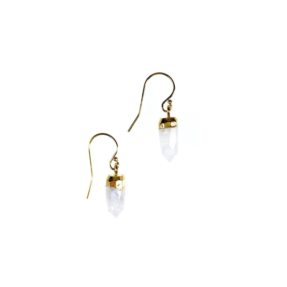 Ginger Pointer Moonstone Earrings
