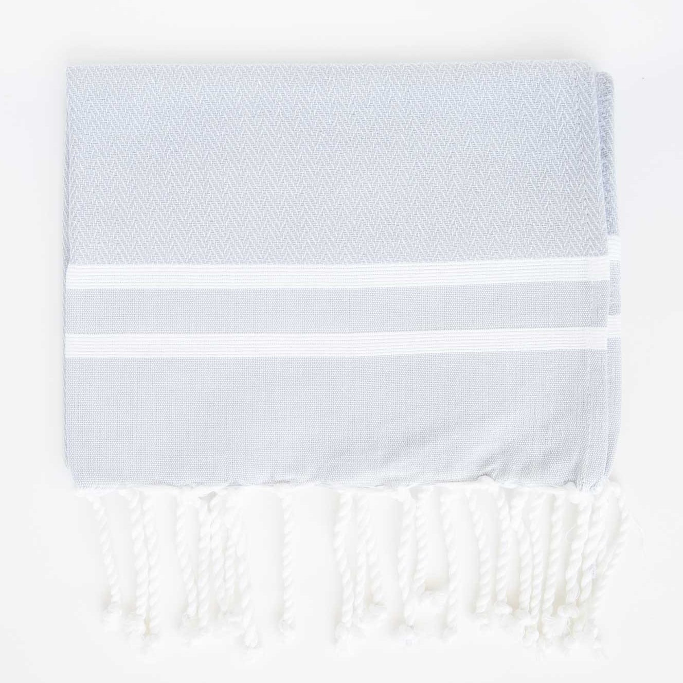 Guest Towel Herringbone 2-Stripes Grey / White