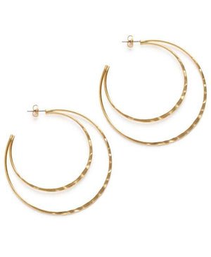 Double Hammered Crescent Hoop Studs