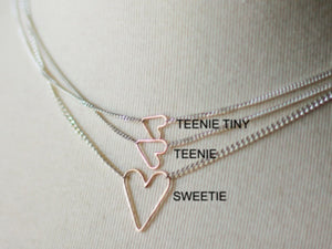 Jane Hollinger Teenie Floating Heart Necklace Silver/Gold