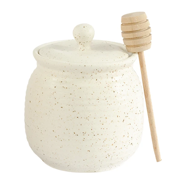 Stoneware Honey Jar With Wood Dipper