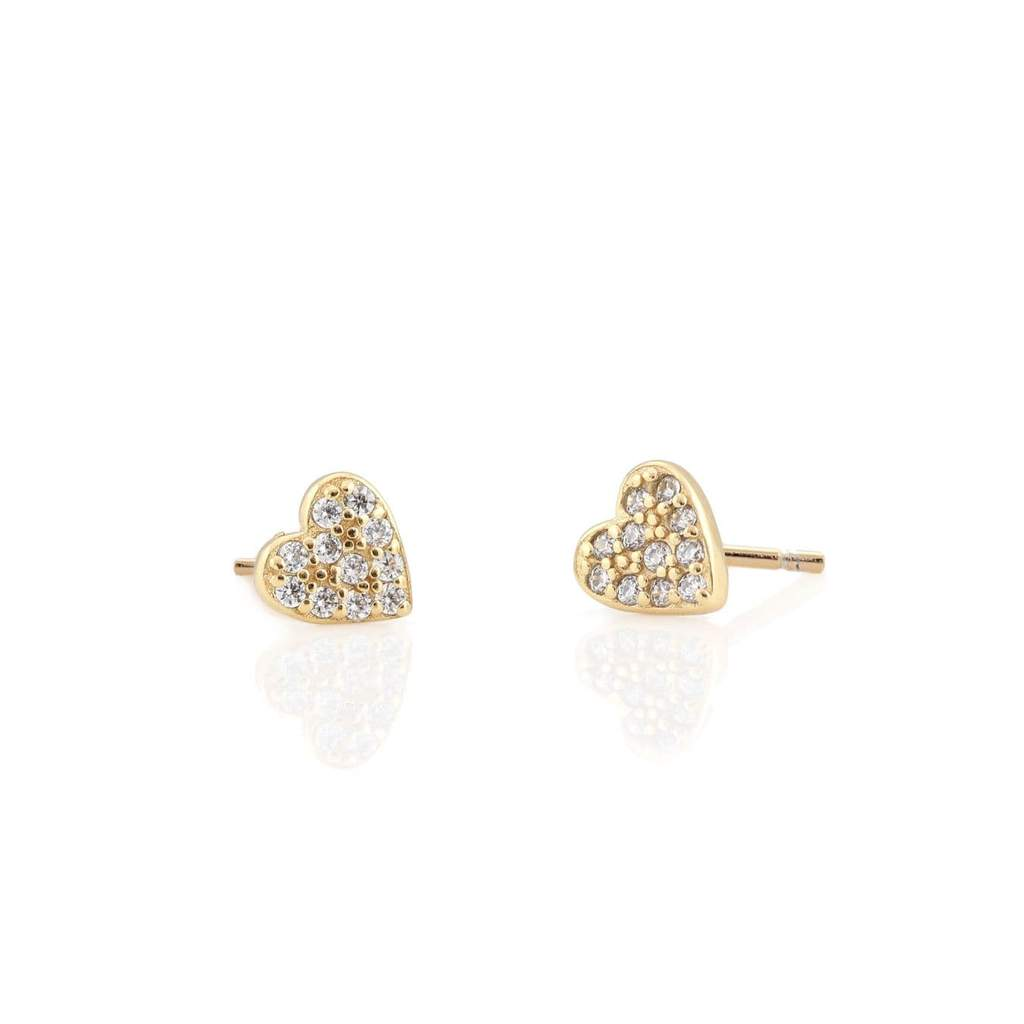 Kris Nations Heart Pave Stud Earrings