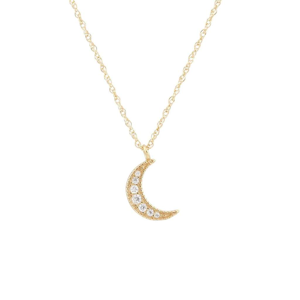 Kris Nations Crescent Moon Pave Necklace