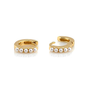 Kris Nations Pearl Huggie Hoop Earrings
