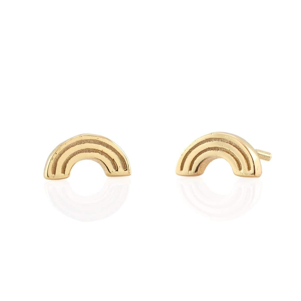 Kris Nations Gold Rainbow Stud Earrings