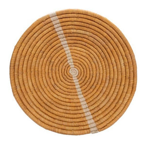 Large Tan Striped Round Basket