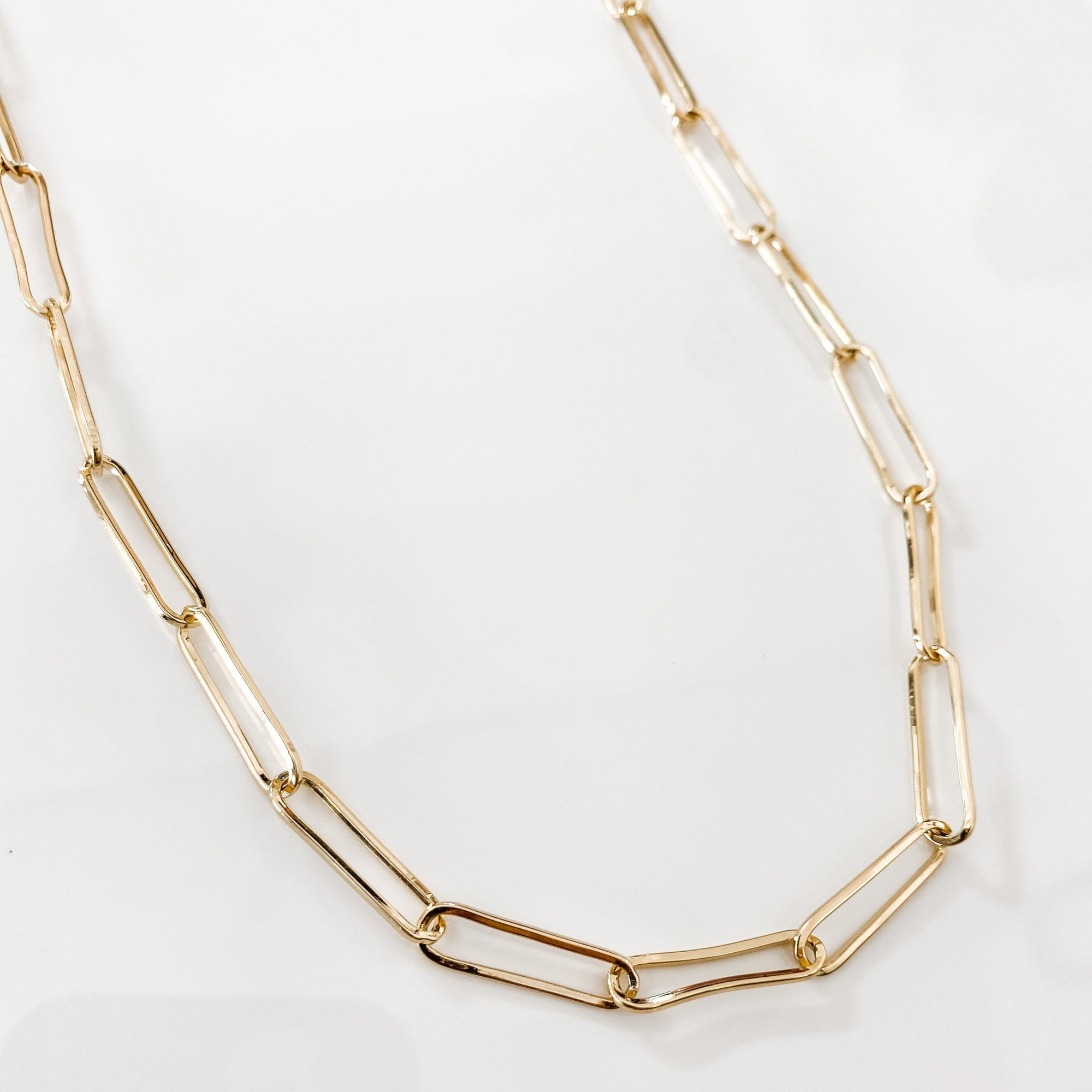 Long Paperclip Chain Link Necklace