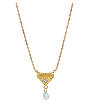 Lulu 14K Gold Fill Costa Necklace (Aqua Chalcedony)