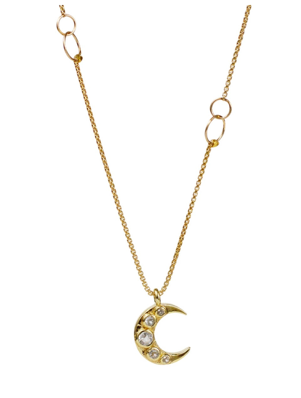 Lulu 14K Gold Fill Crescent Necklace (White Topaz)