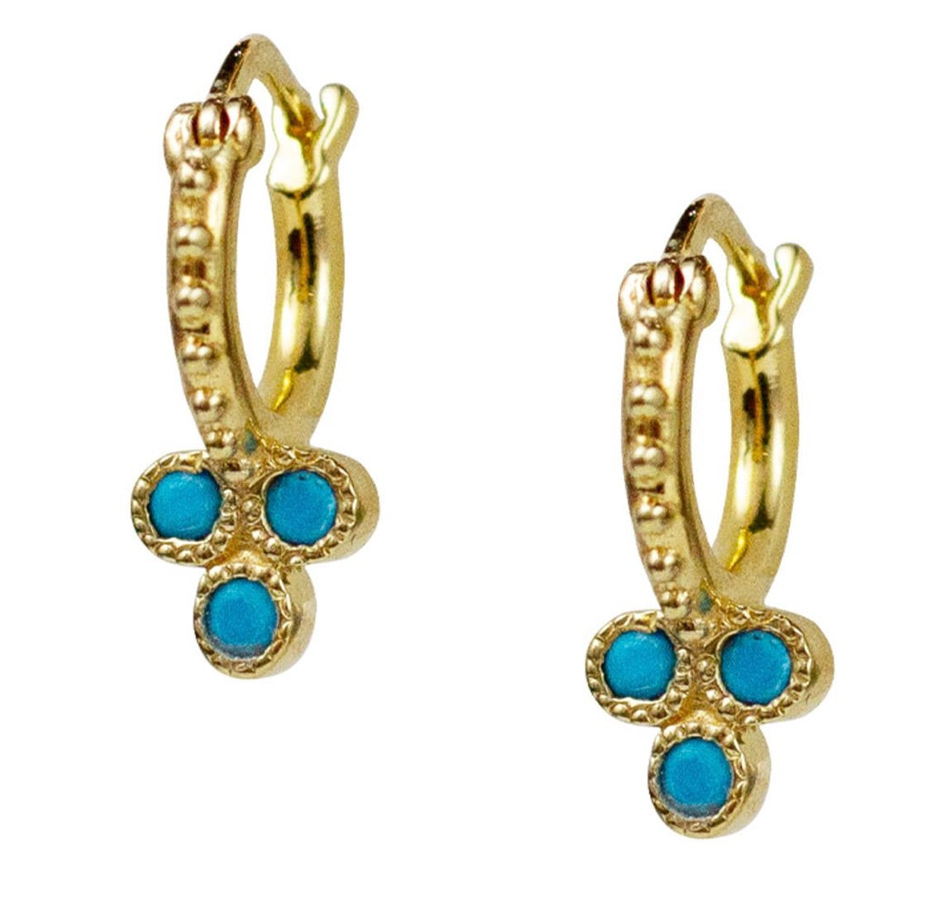 Lulu 18K Gold Vermeil Trifecta Hoops (Turquoise)