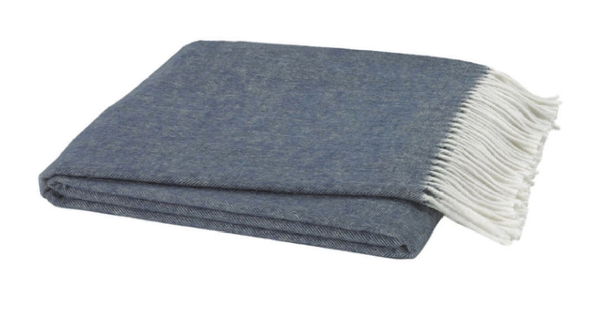 Midnight Blue Italian Herringbone Throw