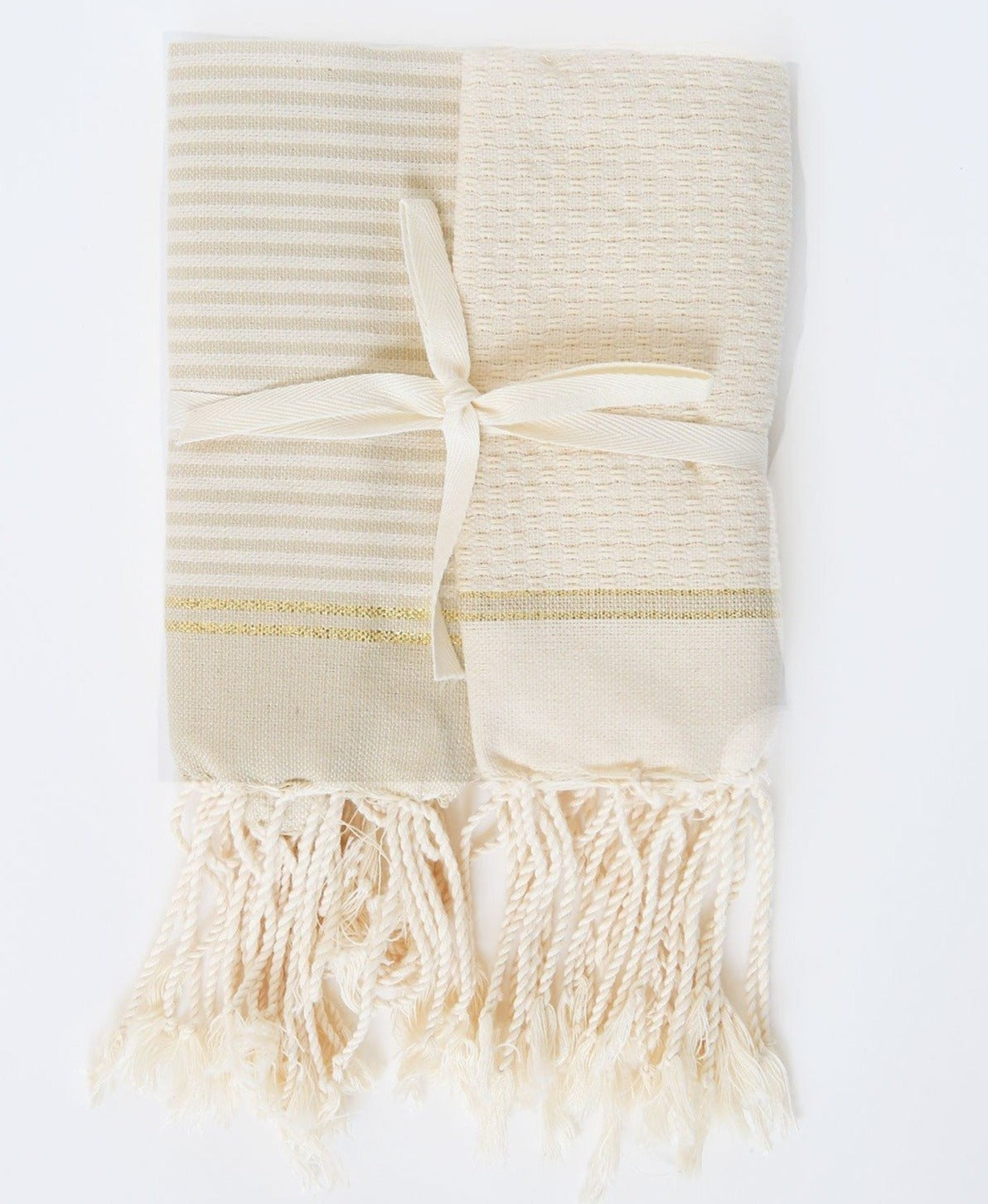 Guest Towel With Lurex - Off White / Beige