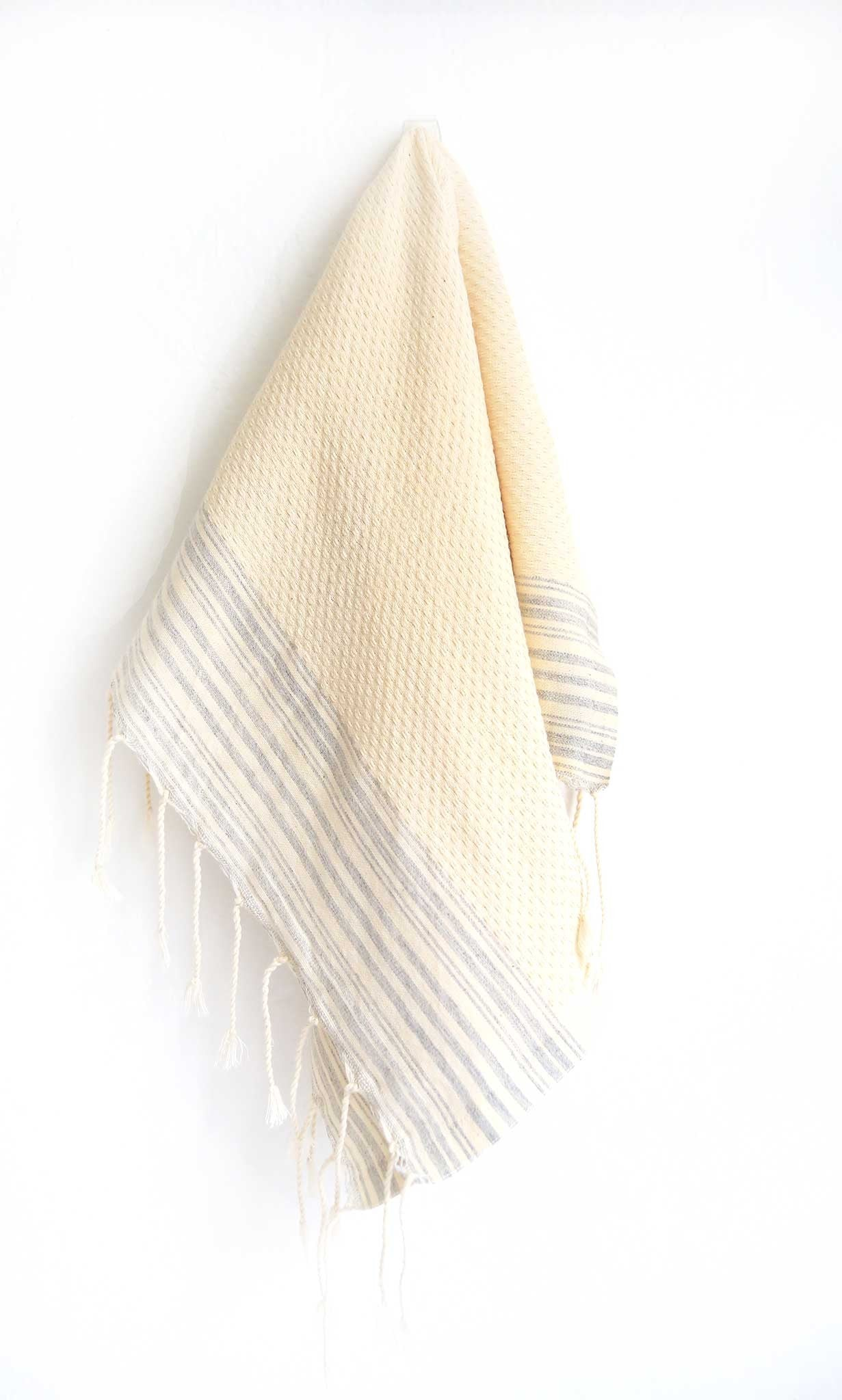 Guest Towel Positive Negative Stripes - Off White/Pearl Grey