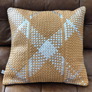 Claramonte Woven Leather Pillow - Camel / Silver Mix